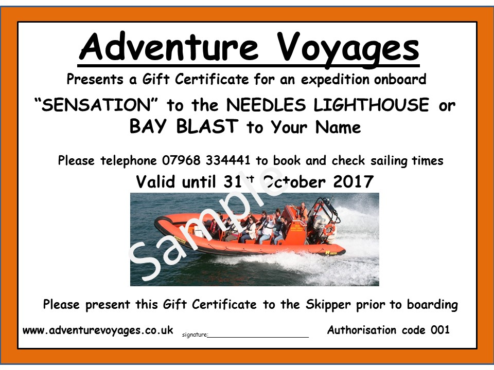 Adventure Voyages Gift Certificate